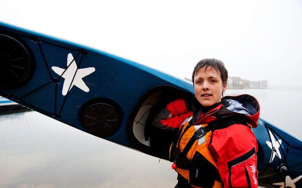 Sarah Outen with Kayak
