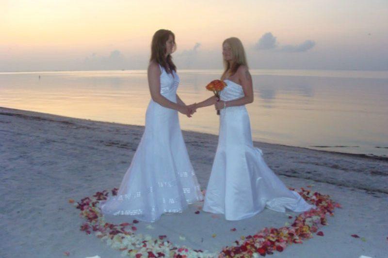 Lesbian Brides on the beach