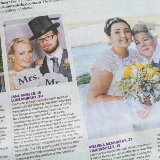Brisbane Couple Becomes First Same-Sex Couple To Be Included In A Newspaper's Wedding Section