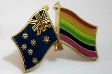 lapel of rainbow and australian flag