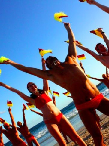 Lifesavers With Pride Do Their Final Beach Rehearsal Before Mardi Gras Parade